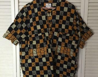 Ornate Checkered Dashiki Style Shirt
