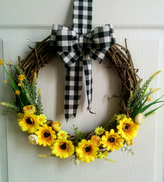 SUNFLOWER WREATH BOW FLORAL WREATH BOW SUNFLOWER RIBBON YELLOW GINGHAM RIBBON