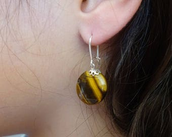Tiger eye and 925 Sterling Silver earrings.