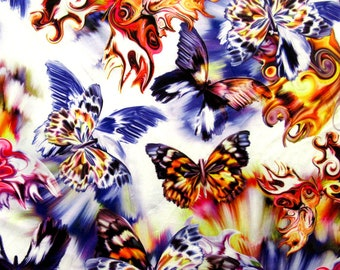 Ships Worldwide from Los Angeles California USA. New butterfly design print on soft poly cotton spandex 4-way stretch 5860\u201d Sold by the YD