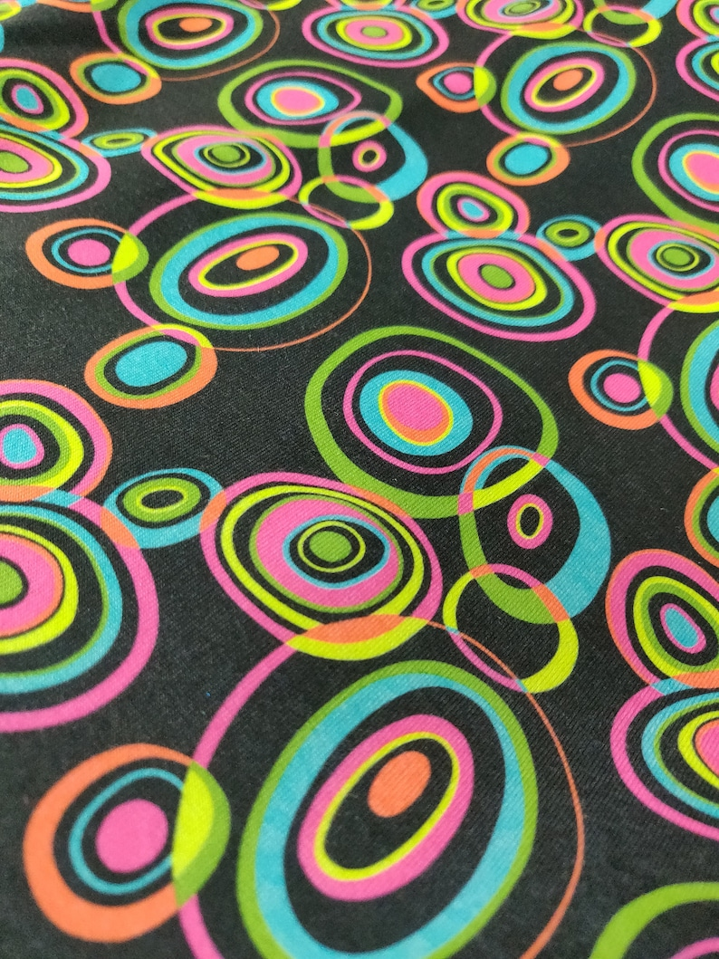 Trippy Inverse Dots Printed on Poly Spandex Fabric 4 Way StretchPer Yard