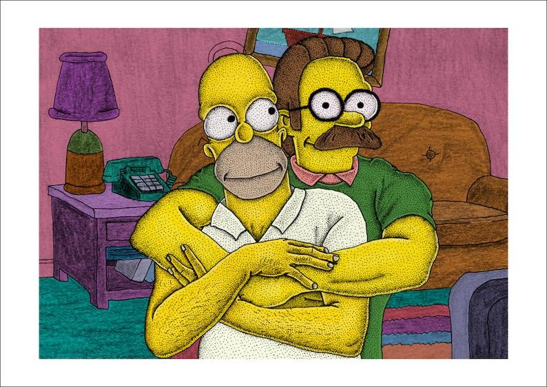 Homer Simpson Ned Flanders Fine Art Print, The Simpsons, Cartoon Love, Pop Culture, Illustration Print, Comic Artwork, LGBT Art, Funny Art