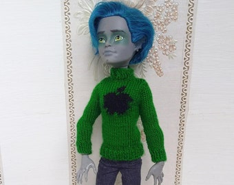 Monster High sweater - Monster Hogh Boy clothes - Green sweater with apple - Monster High Boy outfit - Dollboy clothing - OOAK clothes