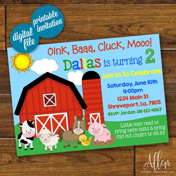 Barnyard Birthday Invitation Oink Baaa Cluck Moo