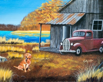 "Farm in the Fall / 18""x24"" / Acrylic Painting on Masonite"