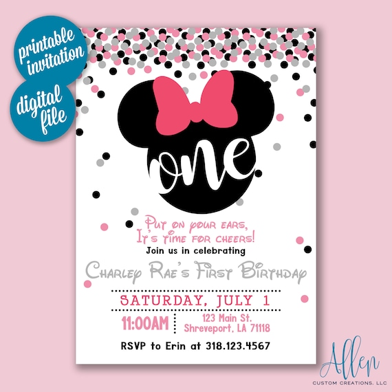 Minnie One Year Old Birthday Invitation