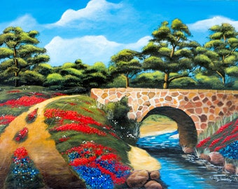 "Springtime in the Country / 18""x24"" / Acrylic Painting on Masonite"