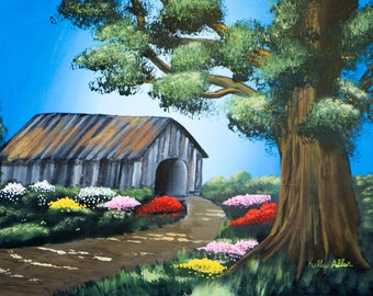 "Country Covered Bridge / 18""x24"" / Acrylic Painting on Masonite"
