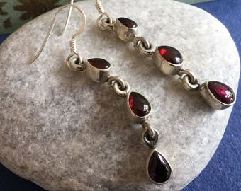 Elegant Sterling Silver and Garnet Gemstone drop Earrings