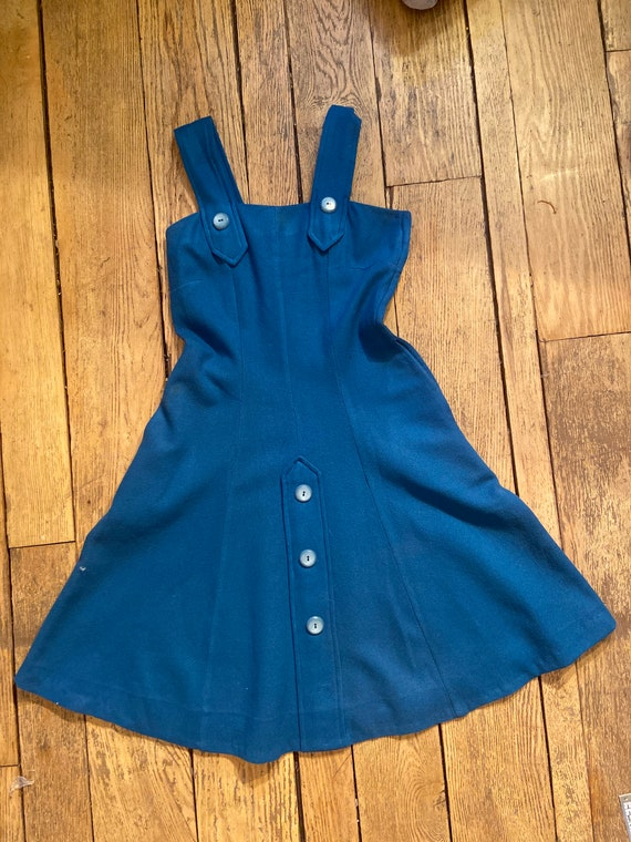 1960s Pinafore Wool Dress