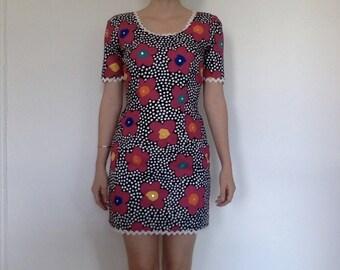 mod floral vintage dress with rhinestones