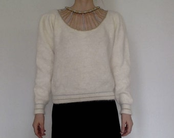 Vintage cream angora sweater with metallic details