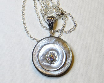 Grey Pearl vintage button necklace on chain - #1126