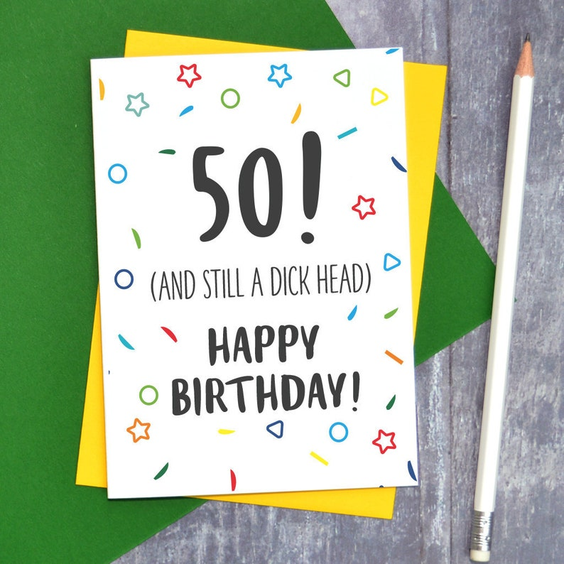 Funny 50th Birthday Card Adult Humour For