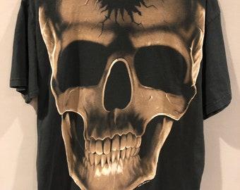 51c584a57 Vintage 90s Liquid Blue all over print skeleton bones graphic shirt