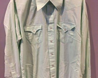 Vintage western snap button sea foam green shirt 9oC6yjxj9x