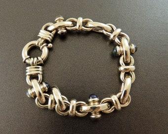 Vintage Handmade 14k Yellow Gold Chunky Link Chain Citrine Aquamarine Amethyst Garnet Gold Link Bracelet Chunky Gemstone Gold Link Bracelet