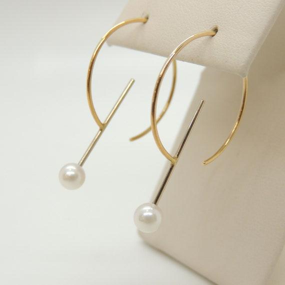 14k Gold Pearl Hoop Earrings Vintage