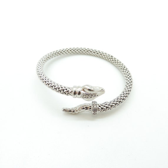 Silver Snake Diamond Bangle Bracelet
