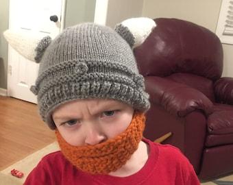 KNIT PATTERN Viking Helmet Hat with Beard