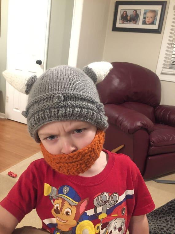 Knit Pattern Viking Helmet Hat With Beard Etsy