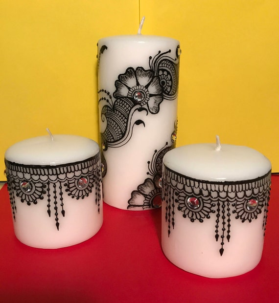 Henna Candles Candles Black And White Decorative Candles Etsy