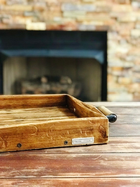 Distressed Wood Tray with Handles