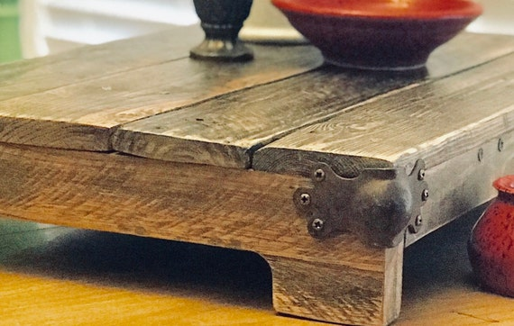 Old World Farmhouse Tray with Vintage Steam Trunk Corners
