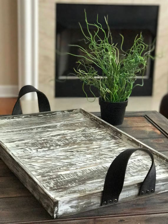 Farmhouse Whitewashed Wood Tray with Leather Handles