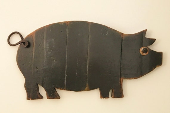 Industrial Farmhouse Black Wood Pig Wall Decor