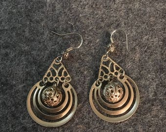 Vintage ball and pyramid earrings