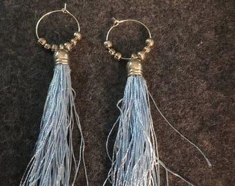 Blue and Silver Tassel Earrings