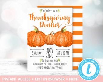 Thanksgiving Invitation Printable Pumpkin Template Editable Instant Download Farmhouse Rustic Fall Invite DIY