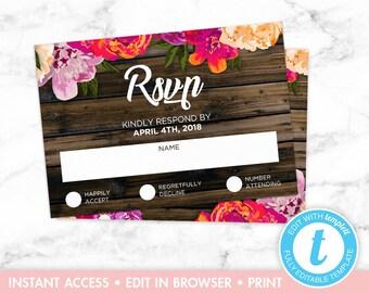 Rustic Floral Wood Wedding Invitation RSVP Card