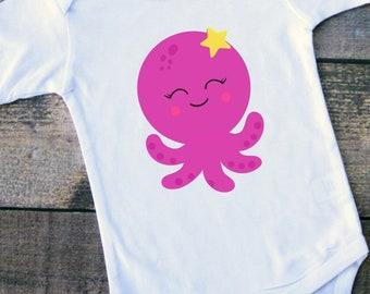 Infant Bodysuit, Octopus Infant Bodysuit, Sea creature bodysuit, Infant clothing