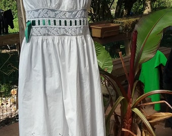 White dress with lace and embroidery