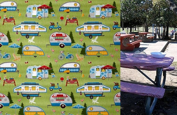 Custom Stay Put Vintage Camper Trailer Fitted Tablecloth Table Etsy