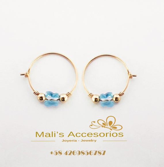 Baby Earrings Gold Hoop Earrings Blue Baby Earrings Etsy