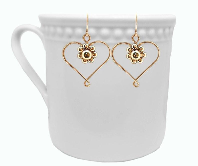 Gold Hearts Earrings flower Earrings Gold Dangle Earrings Yellow Gold Earrings Gold Filled 14K Earrings Handmade Earrings womens Earrings
