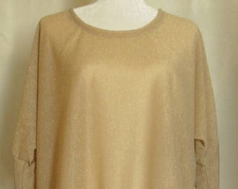Sheer Gold Asymmetrical Batwing Blouse