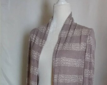 Dusty Mauve and Cream Striped Open Front Sweater