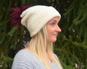 Slouchy Beanie. Crochet Hat. Winter hat. Chunky hat. Handmade. Fold over brim