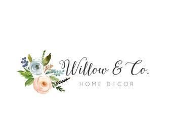 Logo féminin, Logo Floral, fleurs Logo, Logo Premade, Blog en-tête, Logo de calligraphie, Home Decor Logo, Logo d'entreprise, Premade, no 45