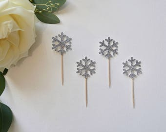 Snowflake Cupcake Toppers - Silver Snowflake Cupcake Toppers - Winterwonderland Cupcake Toppers