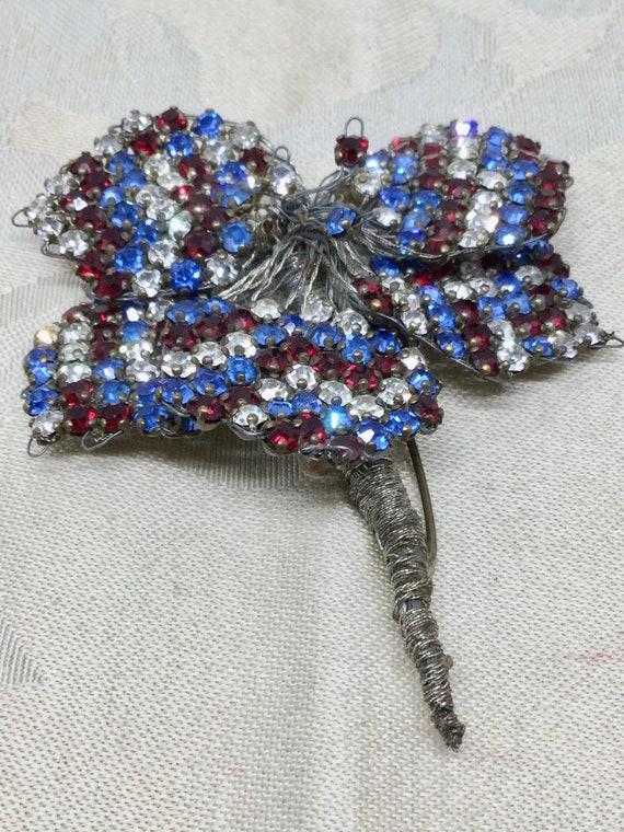 Antique 1920's Hand Crafted Rhinestone Flower Broo