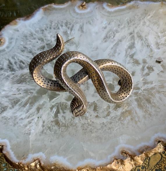 Heavy silver snake brooch - image 1