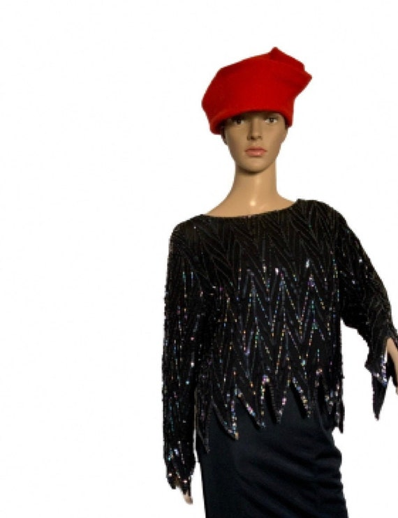 Beaded and sequinned top and skirt ensemble