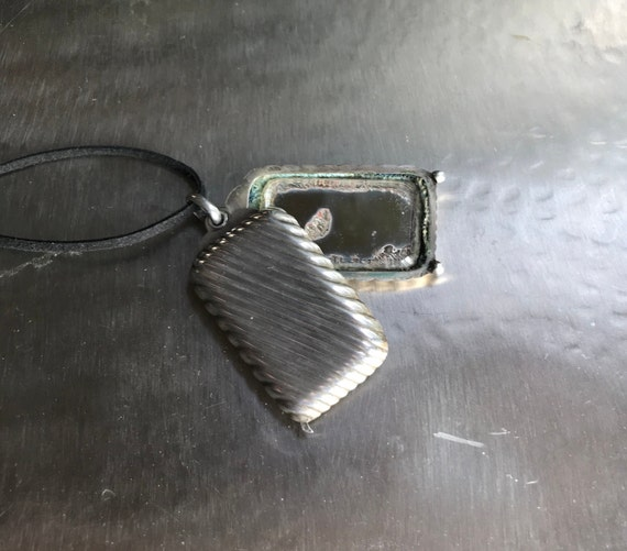 French silver compact mirror