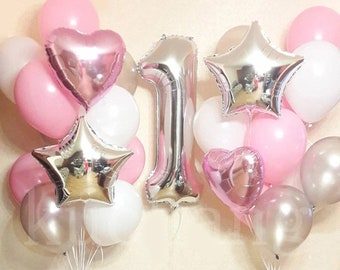 PINK GIANT Number 1 Balloon Baby First Birthday Party Balloons
