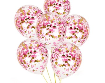 PINK CONFETTI BALLOONS Pink And Gold Confetti Balloons Bouquet Baby Shower Girls Birthday